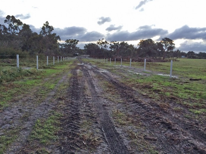 Part of a 2.5km laneway using concrete posts at Giffard West
